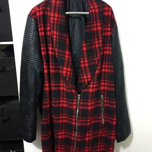 Missguided PU faux leather biker sleeve check coat
